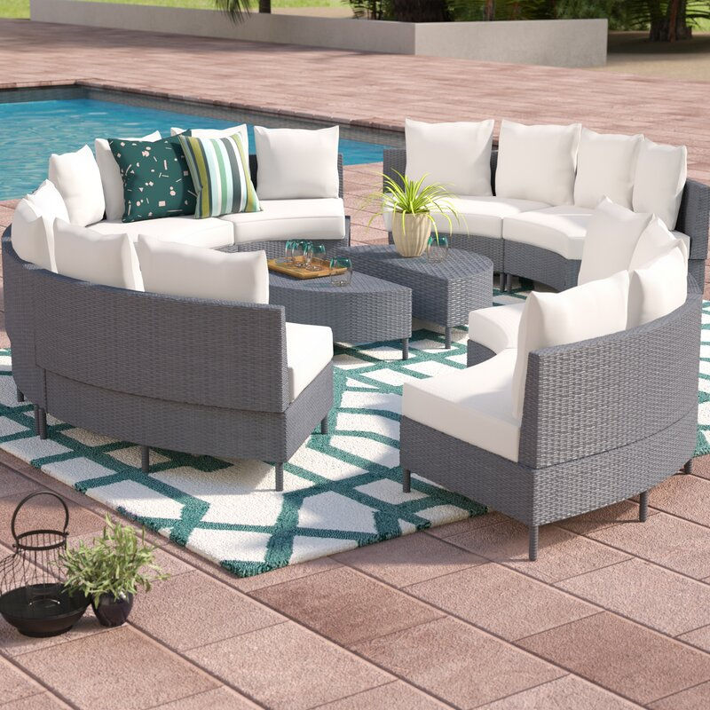 Sena 10 Piece Rattan Sectional Set with Cushions