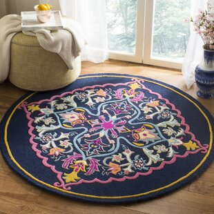 Blokzijl Hand-Tufted Wool Blue/Pink/Navy Blue Area Rug by Bungalow Rose