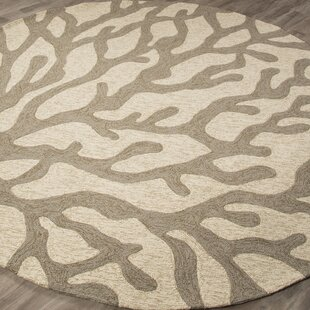 Ismene Hand-Hooked White Asparagus Indoor/Outdoor Area Rug