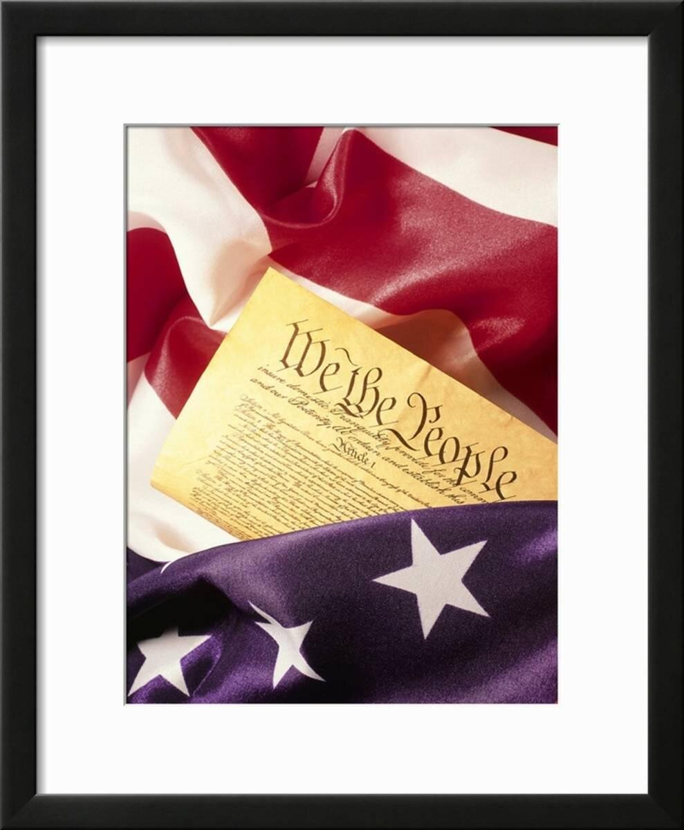 Charlton Home \'US Flag, Constitution\' Framed Photographic Print ...