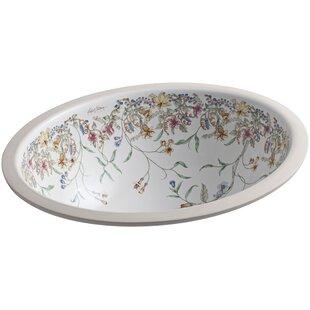 Inexpensive English Trellis Ceramic Oval Undermount Bathroom Sink with Overflow By Kohler