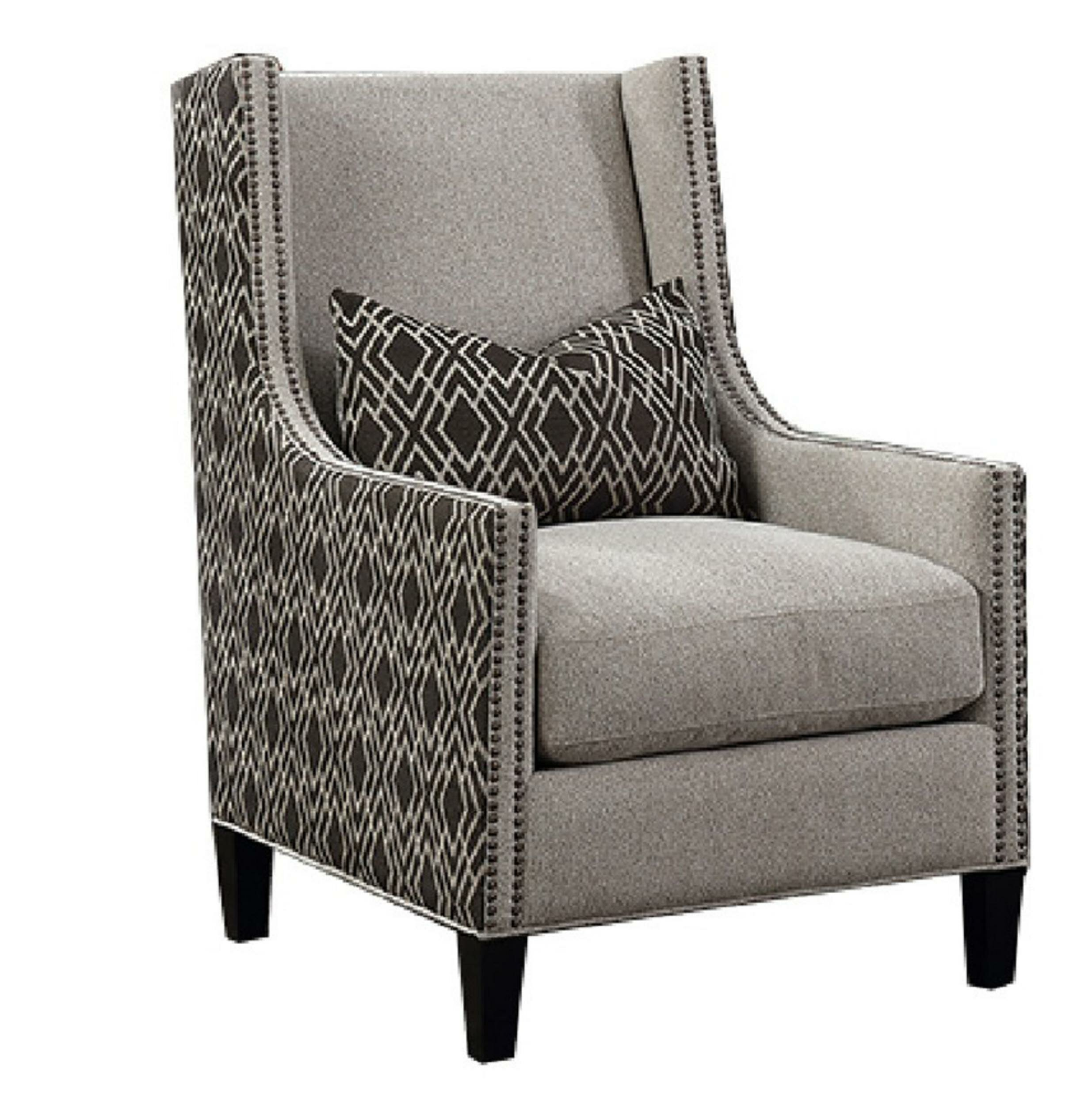 Terrific High Back Wing Accent Chair With Fabric Upholstery Grey And Black Onthecornerstone Fun Painted Chair Ideas Images Onthecornerstoneorg