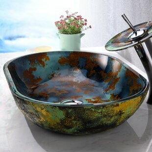 ANZZI Voce Glass Oval Vessel Bathroom Sink with Faucet