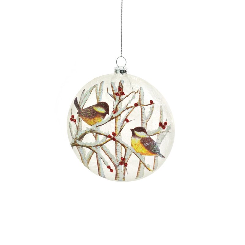 The Holiday Aisle Glass Sparrows In Trees Frosted Oval Hanging Figurine Ornament Wayfair