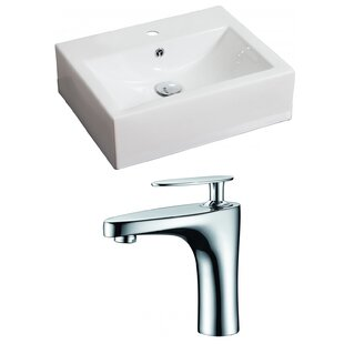Reviews Ceramic 21 Wall Mount Bathroom Sink with Faucet and Overflow By American Imaginations
