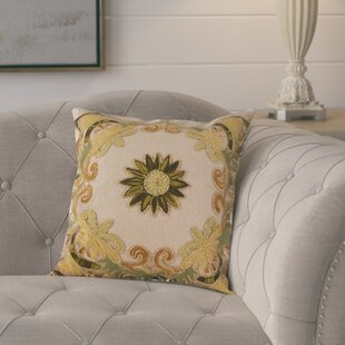 Baltic Floral Embroidery Motif Beaded Cotton Throw Pillow