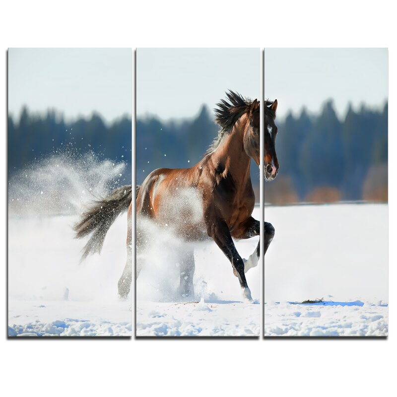 Designart Horse Running In Winter 3 Piece Photographic Print On Wrapped Canvas Set Wayfair