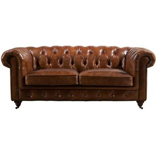 Micheal Leather 2 Seater Chesterfield Sofa By Williston Forge