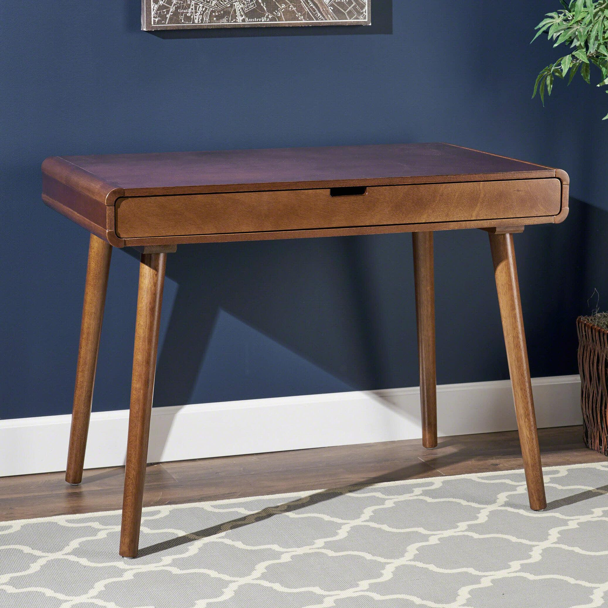 Image of: George Oliver Mid Century Solid Wood Desk Reviews Wayfair