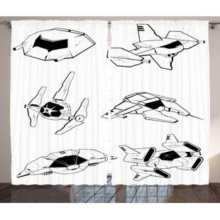Clayton Galaxy Graphic Print & Text Semi-Sheer Rod Pocket Curtain Panels (Set of 2) by Zoomie Kids