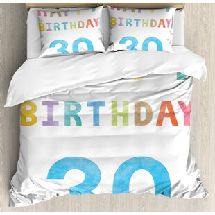 30th Birthday Decorations Happy Lettering In Soft Toned Watercolors Celebratory Duvet Cover Set