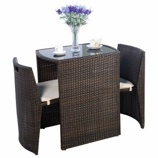 Mart 3 Piece Rattan Conversation Set with Cushions