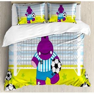 East Urban Home Sports Cute Hippopotamus Soccer Goal Keeper Football Cartoon Print Duvet Set