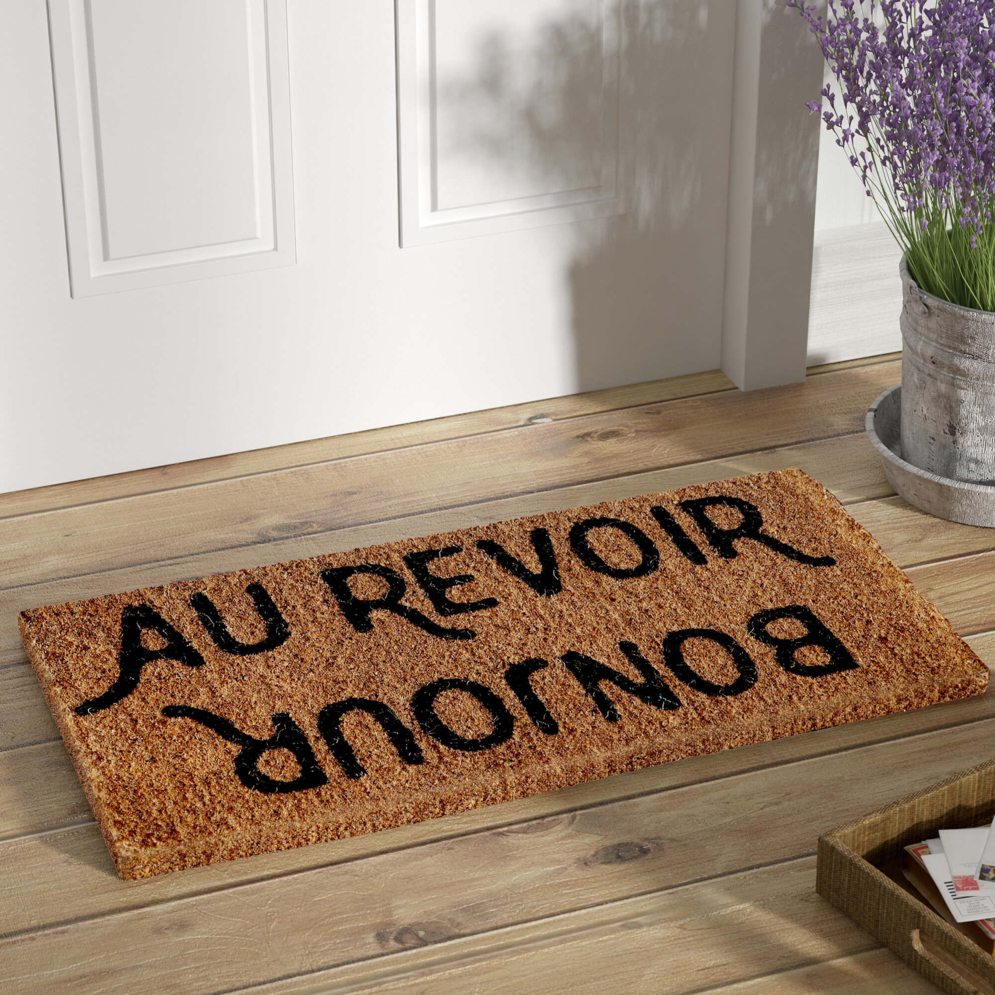 coir round rubber with in wooden door doormat attractive homeowners inspiration decor personalized half mats ideas ornament front house ac home your surname of space entrance contemporary presenting geometric doormats decorate to beautiful