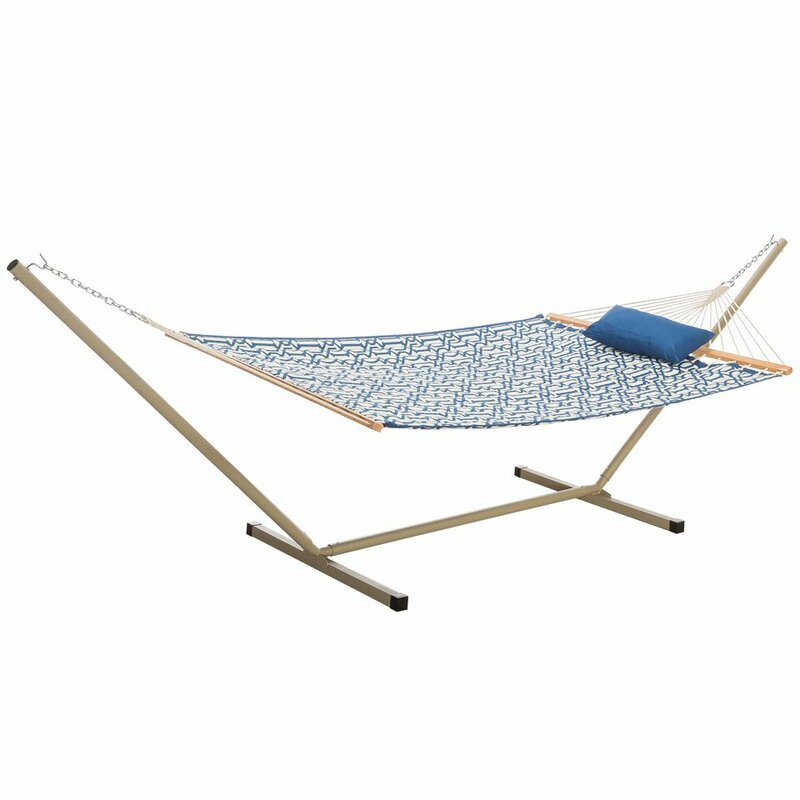 Sol 72 Outdoor  Amaryllis Quilted Tree Hammock with Stand Color: Navy