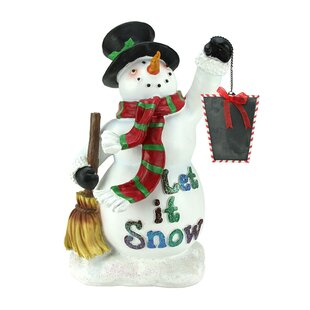 Festive Snowman Holding Broom And Blackboard Christmas Countdown Figure