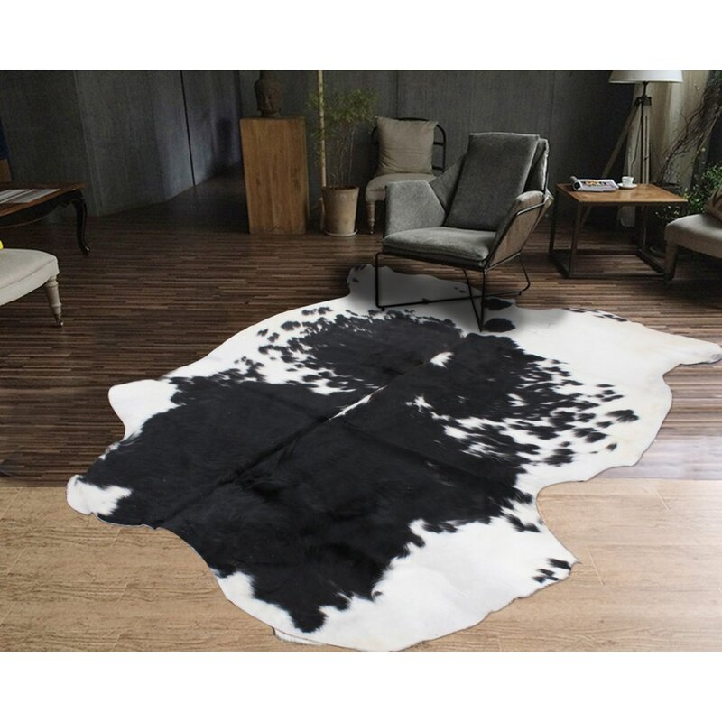 Gracie Oaks Animal Print Handmade Cowhide Black White Area Rug Wayfair