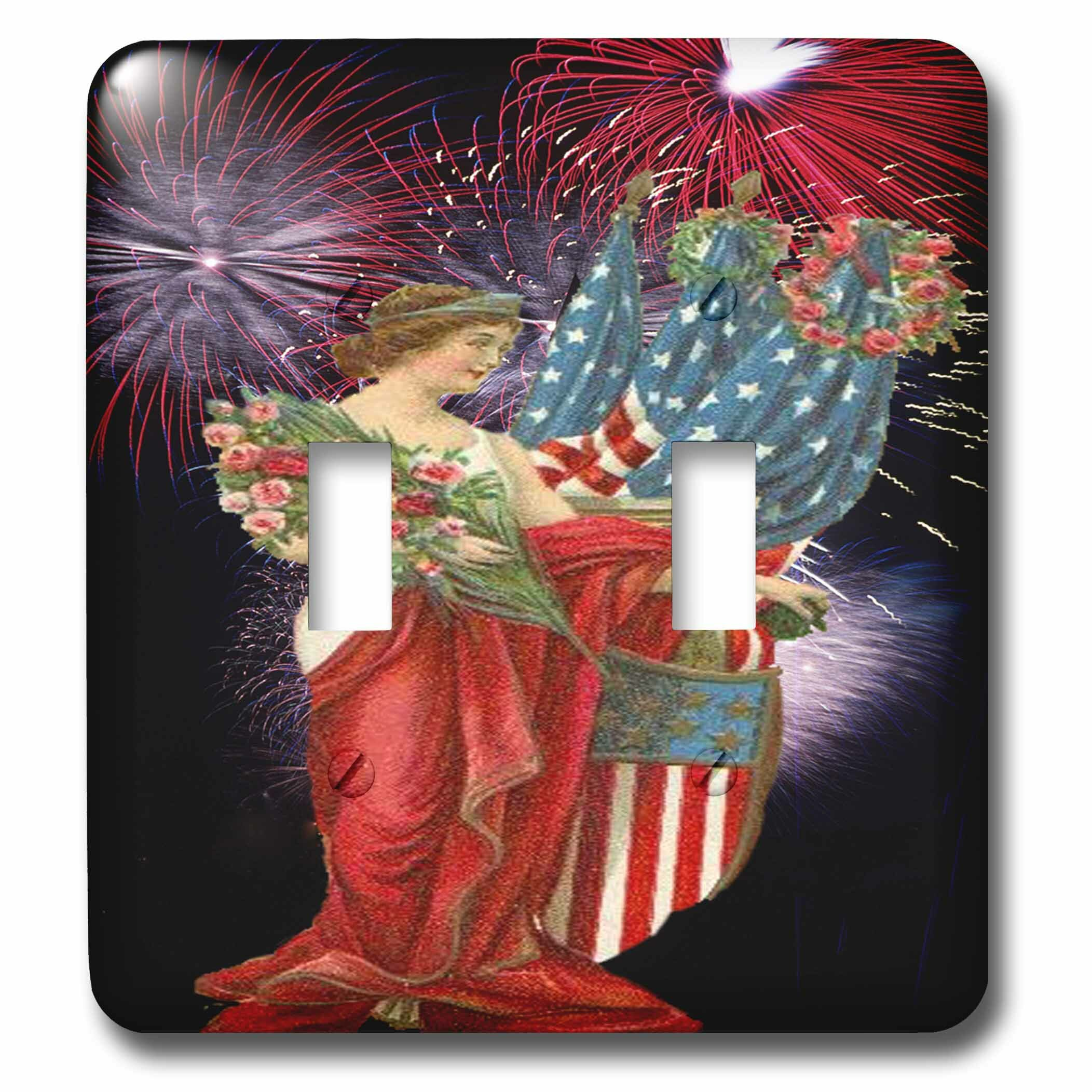 3drose Lady And Fireworks 2 Gang Toggle Light Switch Wall Plate Wayfair