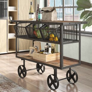 Odette Mango Wood Bar Cart by Trent Austin Design