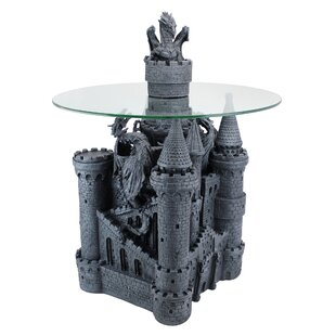 Lord Langton's Castle Glass Topped Sculptural End Table by Design Toscano