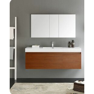 Senza 60 Mezzo Single Wall Mounted Modern Bathroom Vanity Set with Mirror by Fresca