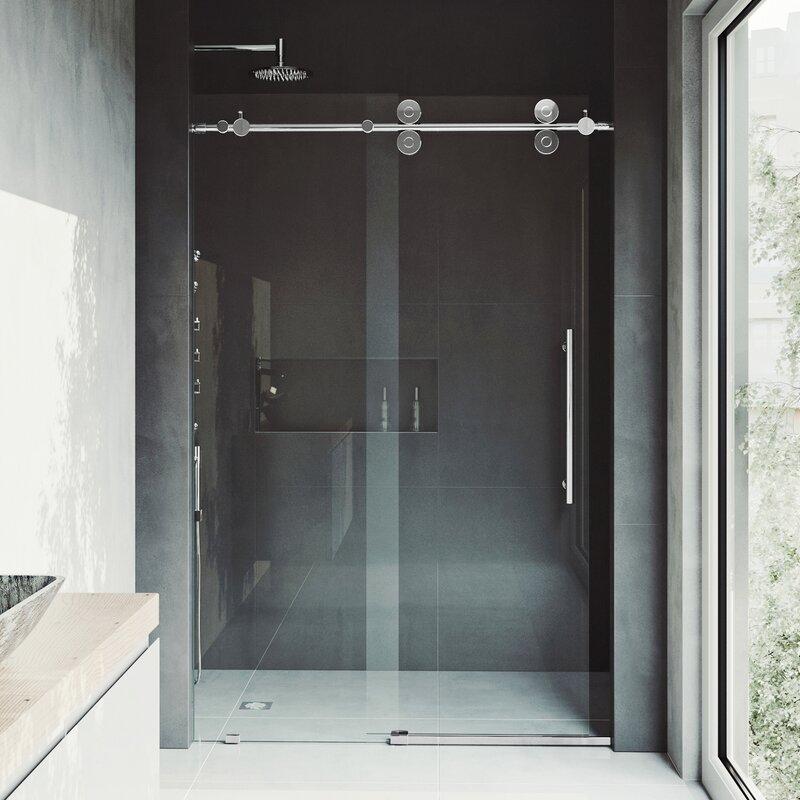 vigo elan 52 x 74 single sliding frameless shower door wayfair