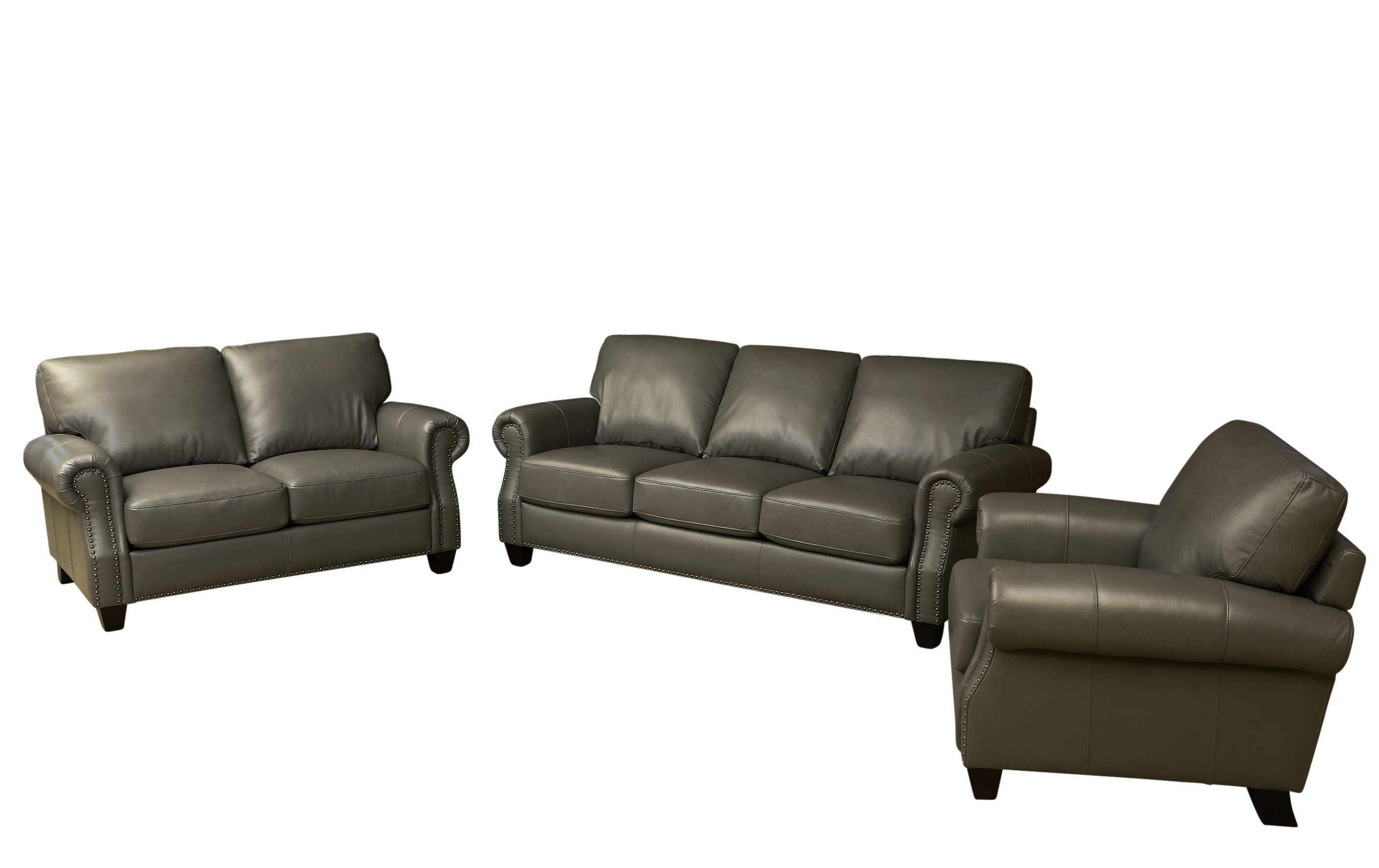 Darby Home Co Cairnbrook 3 Piece Leather Living Room Set | Wayfair