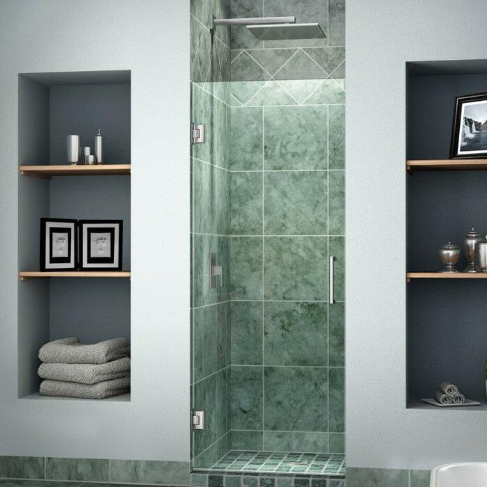 Unidoor 26  x 72  Hinged Frameless Shower Door with ClearMax Technology & DreamLine Unidoor 26