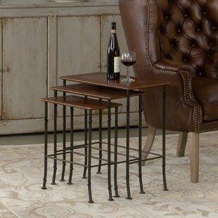 Kew Gardens Leather 3 Piece Nesting Tables by Sarreid Ltd