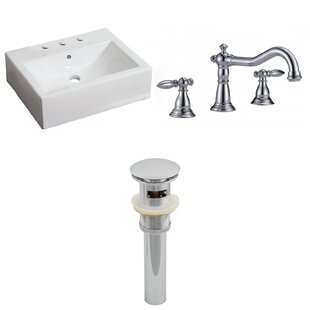 Look for Ceramic 17 Wall Mount Bathroom Sink with Faucet and Overflow ByAmerican Imaginations