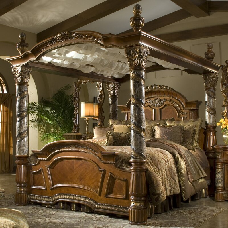 Michael Amini Villa Valencia Canopy Configurable Bedroom Set ...