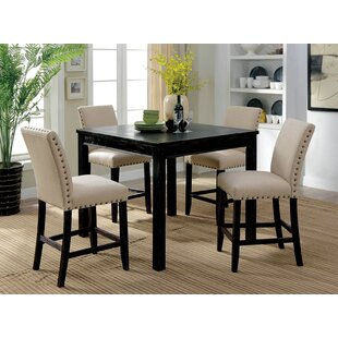 Hankerson Wooden 5 Piece Counter Height Dining Table Set