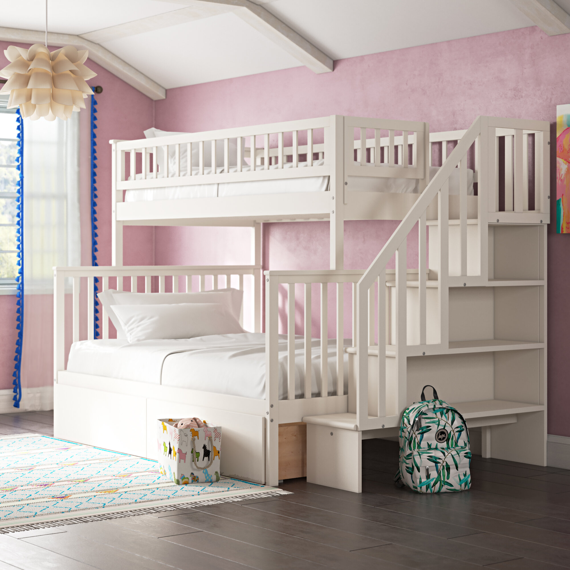 Viv Rae Shyann Staircase Twin Over Full Bunk Bed With Shelves