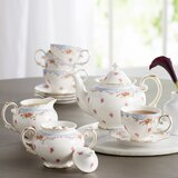 Stets 11 Piece Vintage Blue Rose Porcelain Tea Set
