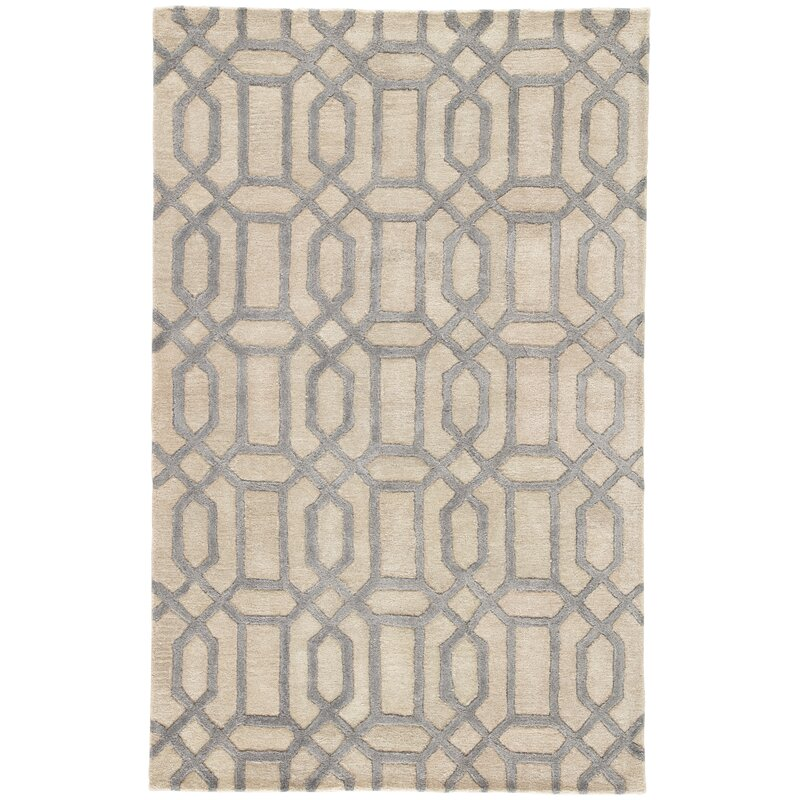 Hebb Hand Tufted Feather Gray Tan Area Rug