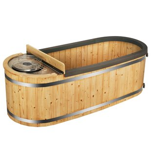 ALEKO Natural Pine Hot Tub with Charcoal Stove