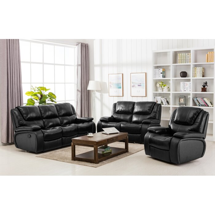 Hille Reclining 3 Piece Leather Living Room Set