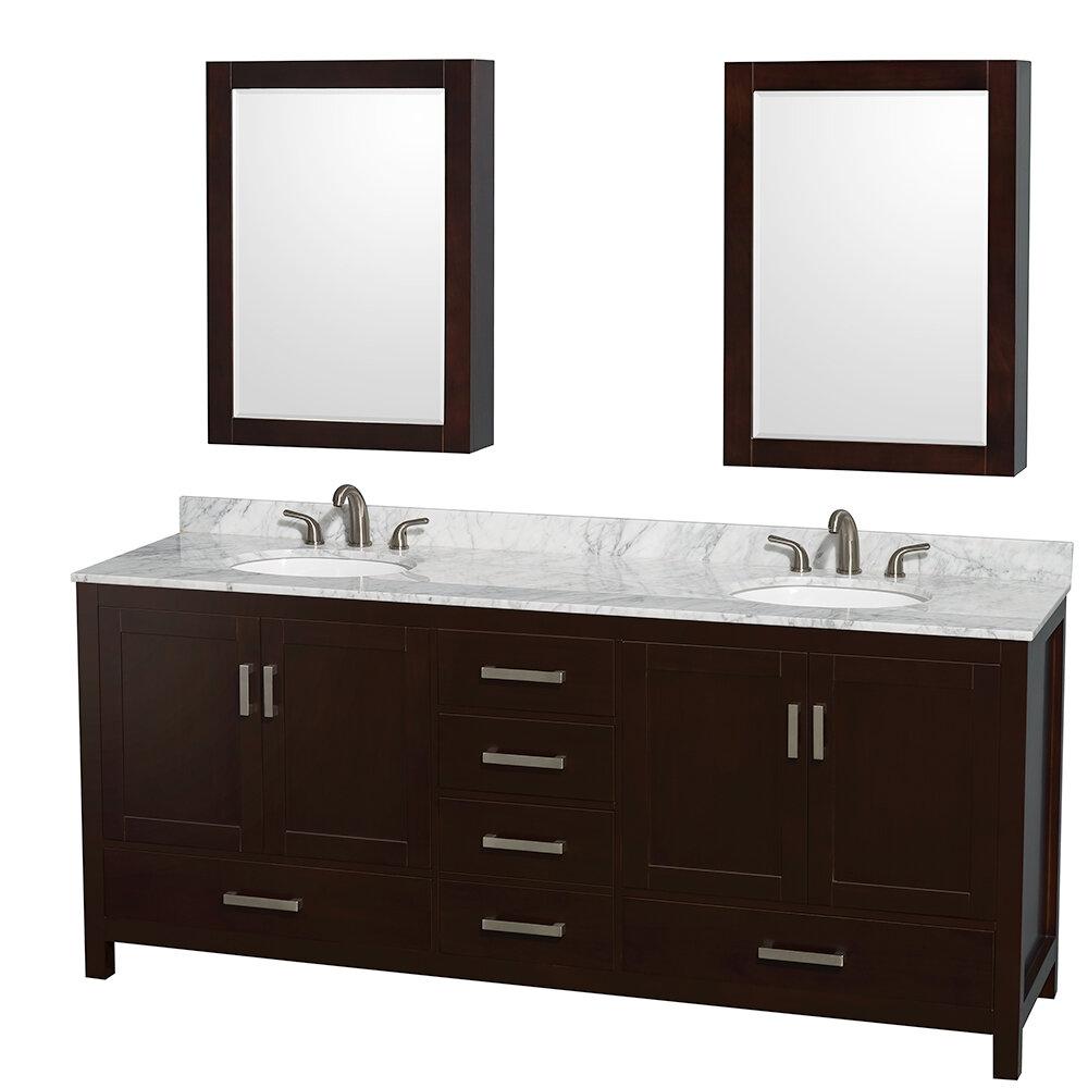 Wyndham Collection Sheffield 80 Double Espresso Bathroom Vanity Set