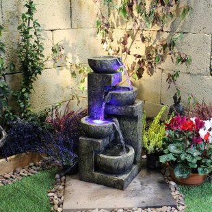 4 Bowl Resin Water Feature With Light Image