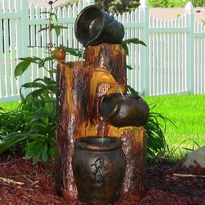 Resin Solar Cascading Log and Buckets on Demand Water Fountain with LED Light