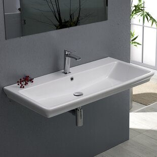 CeraStyle by Nameeks Arica Ceramic Rectangular Drop-In Bathroom Sink with Overflow