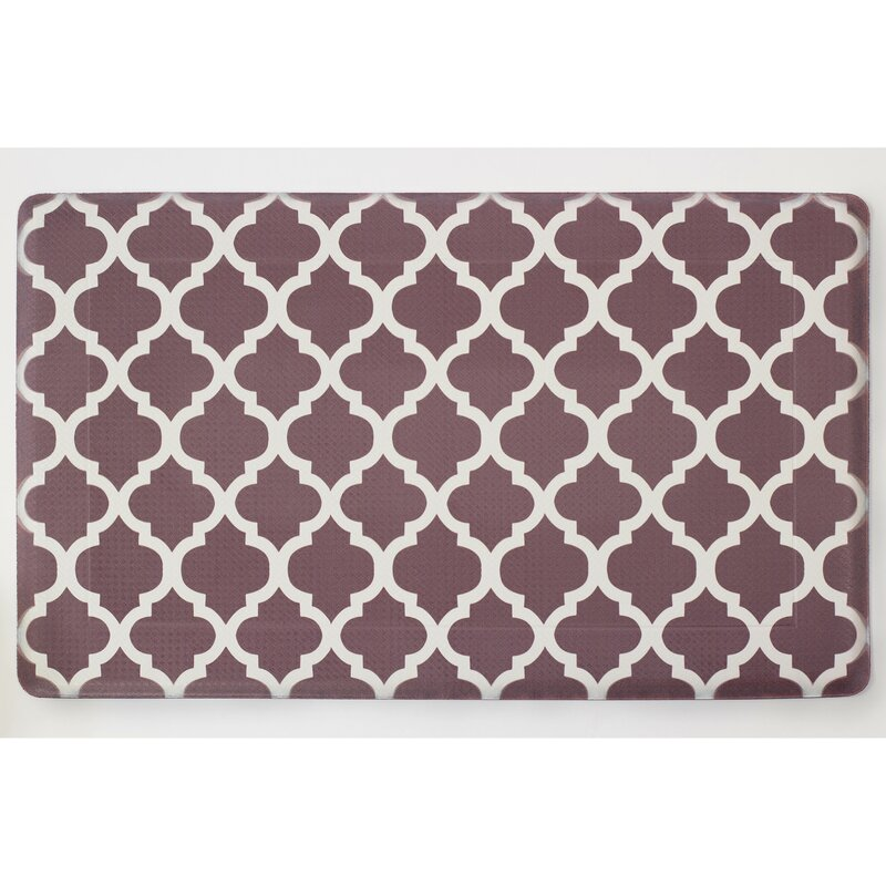 Chocolate Ivory Anti Fatigue Printed Memory Foam Comfort Kitchen Mat