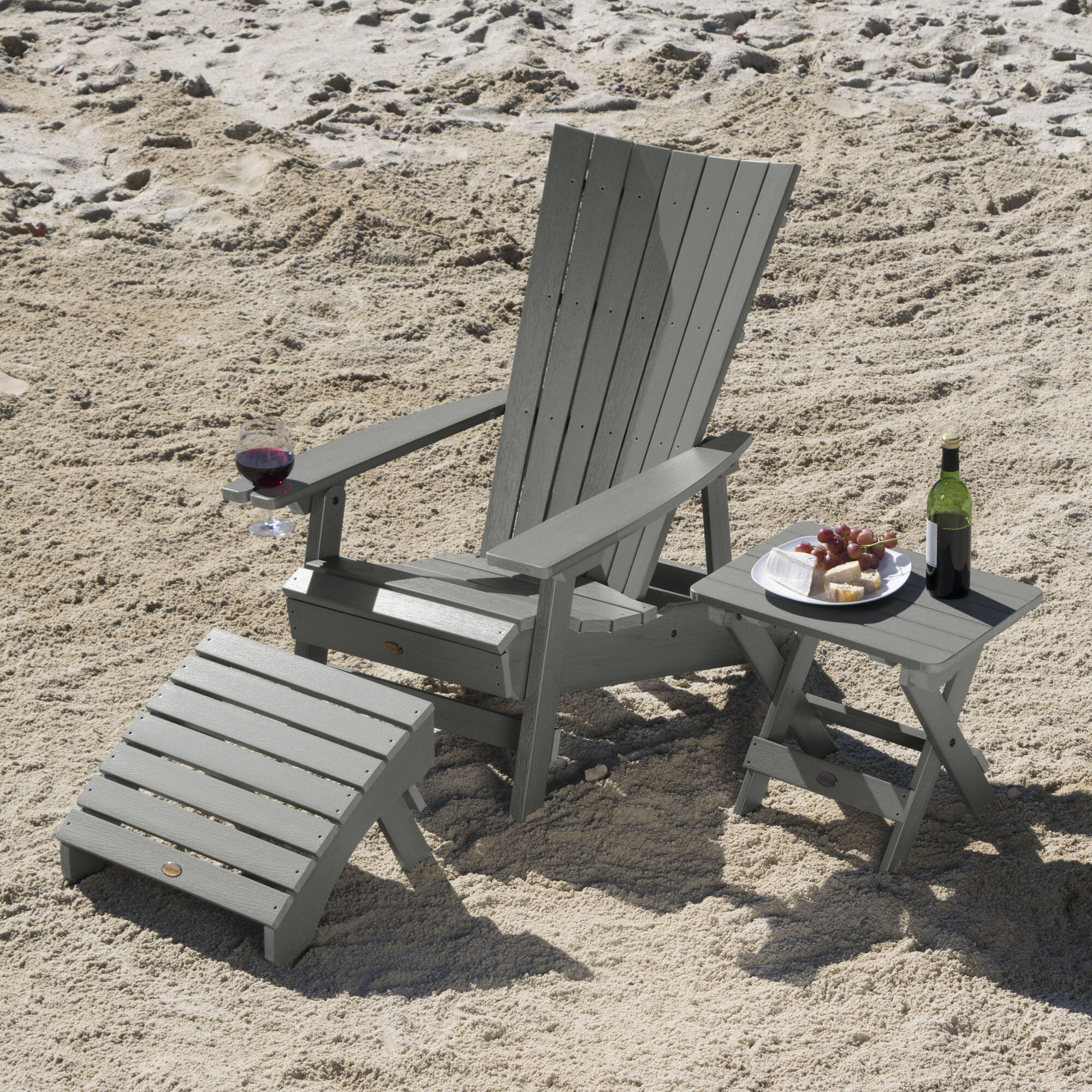 Breakwater bay deutsch plastic adirondack chair with table and ottoman wayfair