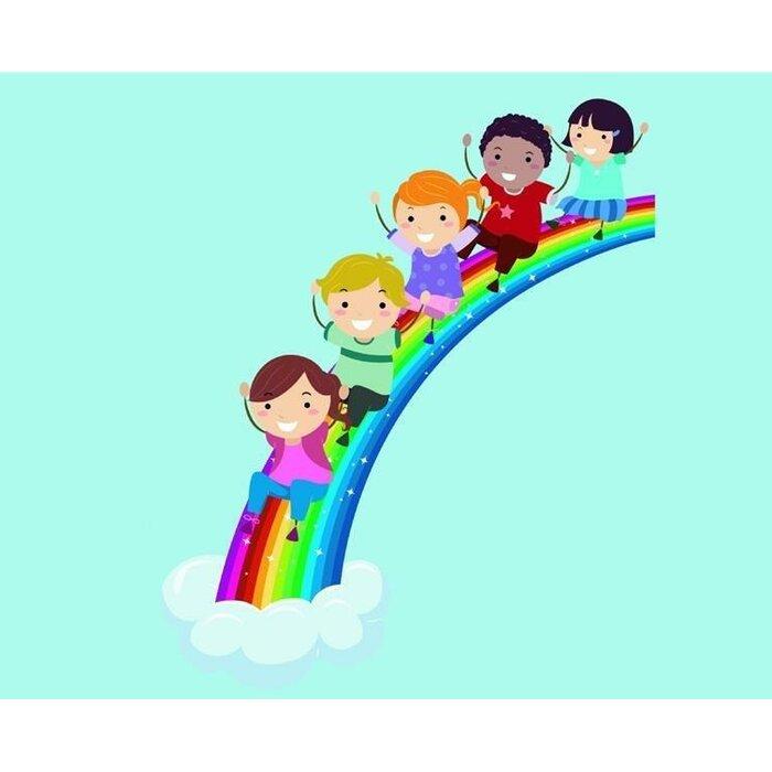Children Sliding Down Rainbow Wall Decal