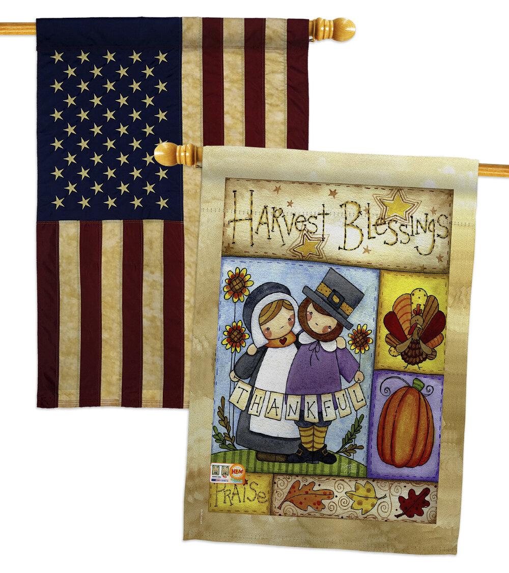 Breeze Decor Thankful Pilgrims 2 Sided Polyester 40 X 28 In House Flag Wayfair
