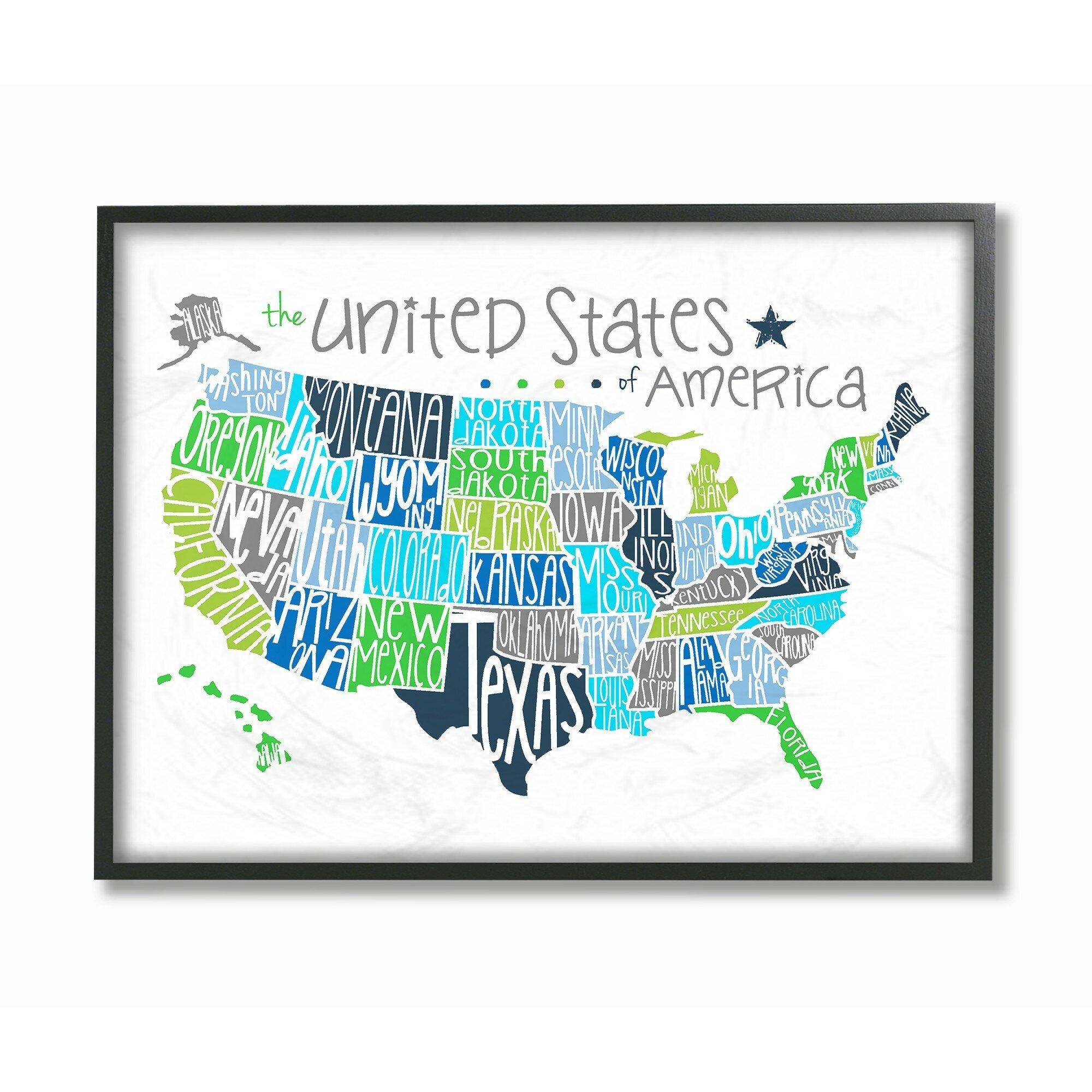 Harriet Bee Fenske United States Map Colored Typography Framed Art ...