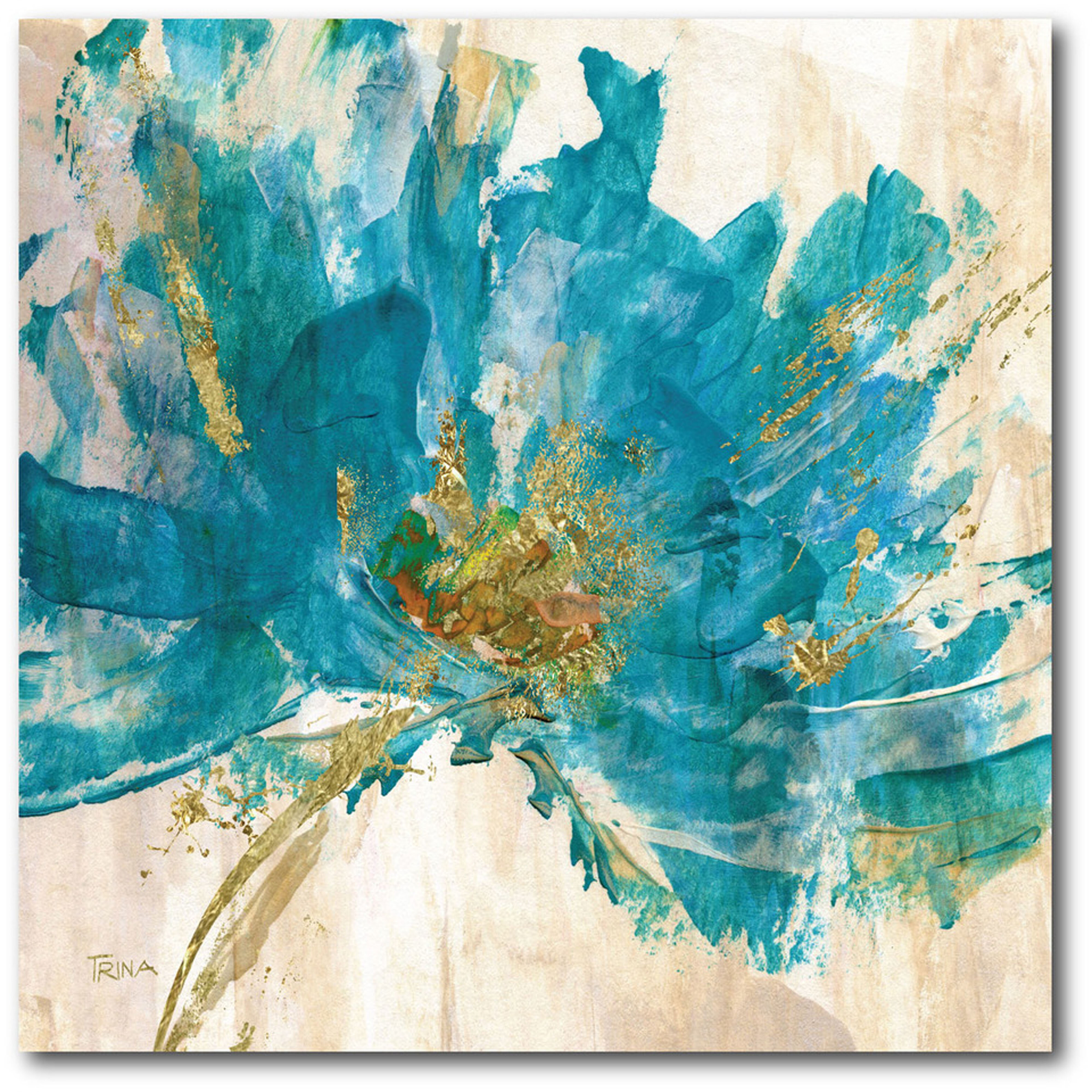 East Urban Home Contemporary Teal Flower Ii Painting Print On Wrapped Canvas Reviews Wayfair