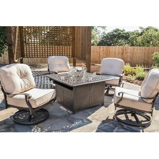 Gunter 5 Piece Firepit Set with Sunbrella Cushions by Fleur De Lis Living