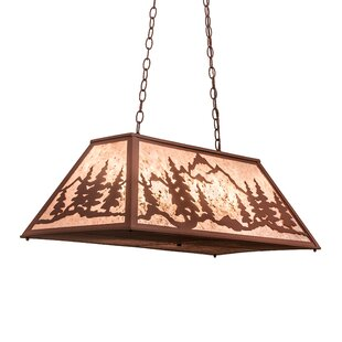 Meyda Tiffany Greenbriar Oak Mountain Range 6-Light Pool Table Lights Pendant