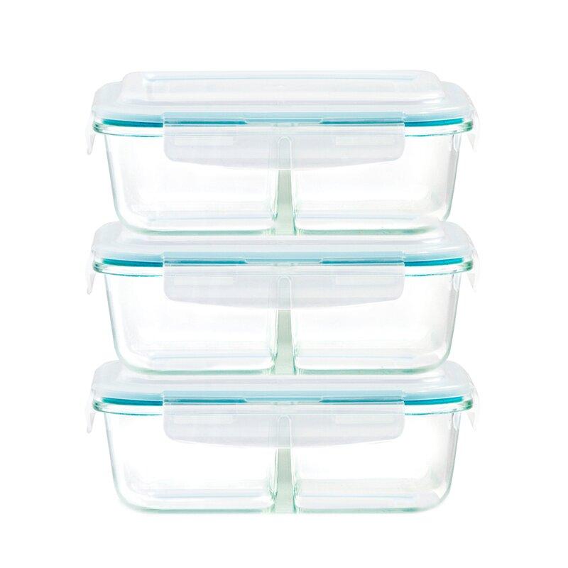 Rebrilliant Igbokwe Healthy Glass 2 Compartment 46 Oz Food Storage